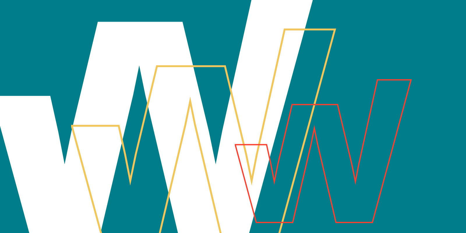 WLS course logo; solid white block 'w' overlaid with yellow and red non-filled 'w's on a teal background
